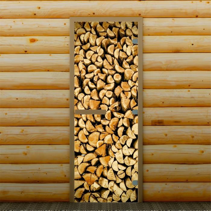 """Дверь для бани и сауны """"Поленница"""", 190 х 70 см, с фотопечатью 8 мм Добропаровъ"""