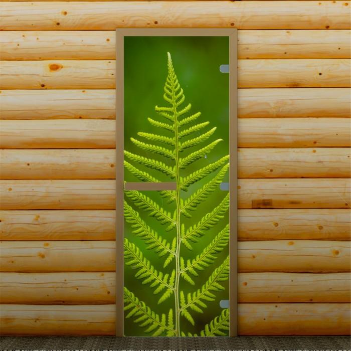 """Дверь для бани и сауны """"Веточка"""", 190 х 70 см, с фотопечатью 8 мм Добропаровъ"""
