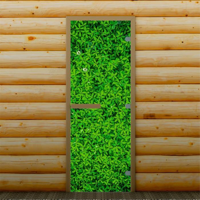 """Дверь для бани и сауны """"Зелень"""", 190 х 70 см, с фотопечатью 8 мм Добропаровъ"""