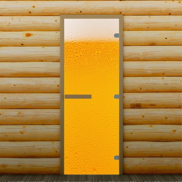 """Дверь для бани и сауны """"Пенное"""", 190 х 70 см, с фотопечатью 8 мм Добропаровъ"""