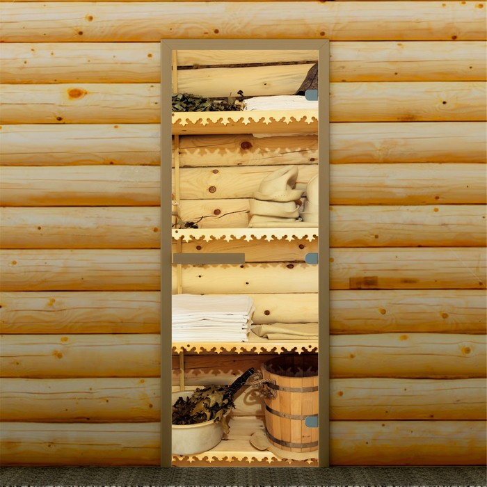 """Дверь для бани и сауны """"Банные принадлежности"""", 190 х 70 см, с фотопечатью 8 мм Добропаровъ   296590"""