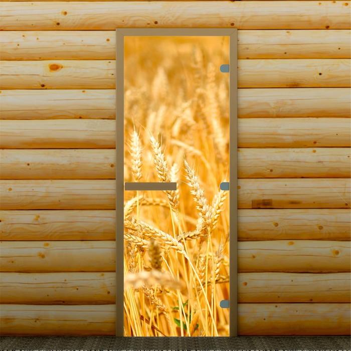 """Дверь для бани и сауны """"Пшеница"""", 190 х 70 см, с фотопечатью 8 мм Добропаровъ"""
