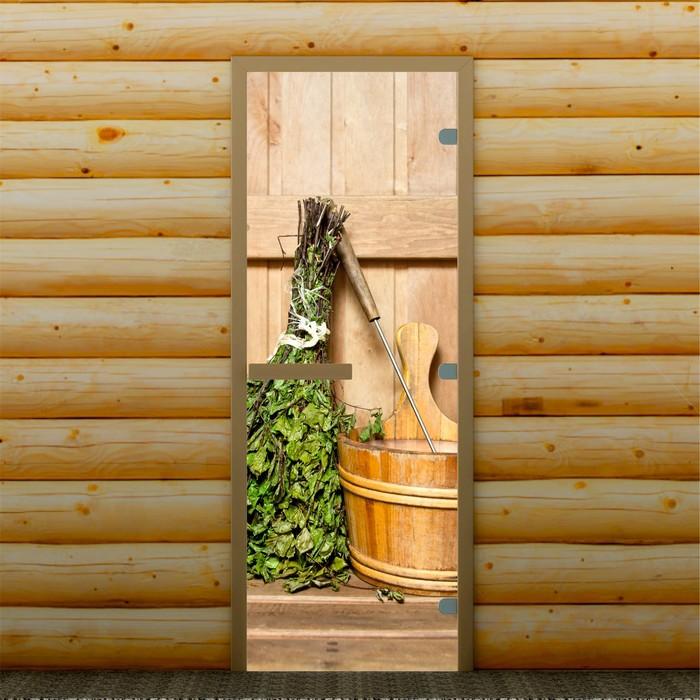 """Дверь для бани и сауны """"Веник в бане"""", 190 х 70 см, с фотопечатью 8 мм Добропаровъ"""