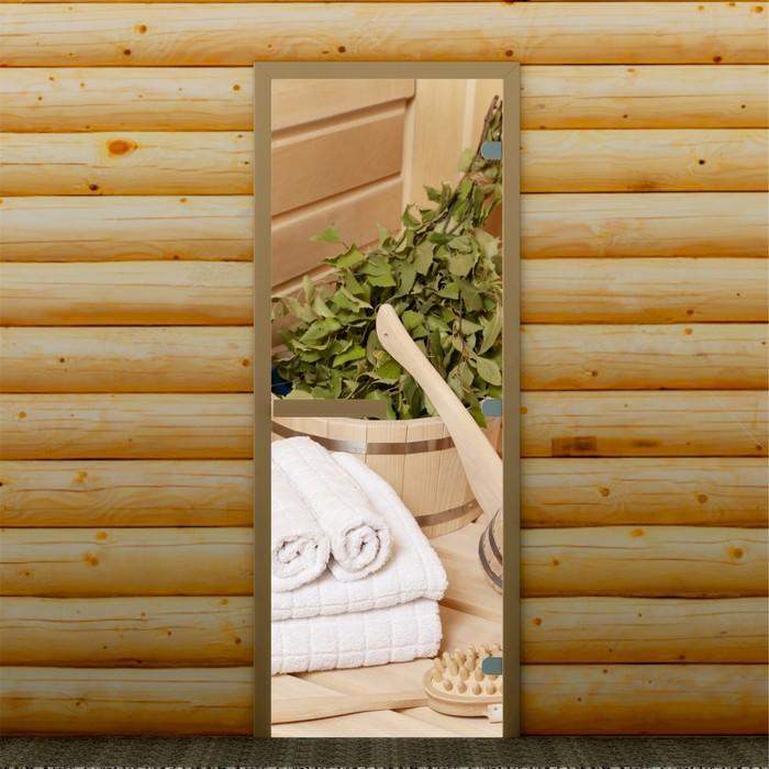 """Дверь для бани и сауны """"Банные аксессуары"""", 190 х 70 см, с фотопечатью 8 мм Добропаровъ"""
