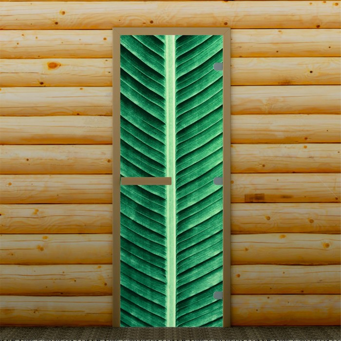 """Дверь для бани и сауны """"Пальмовый лист"""", 190 х 70 см, с фотопечатью 8 мм Добропаровъ"""