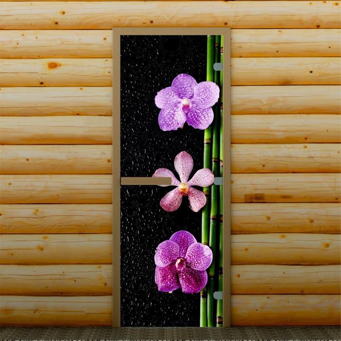 """Дверь для бани и сауны """"Орхидея"""", 190 х 70 см, с фотопечатью 8 мм Добропаровъ"""