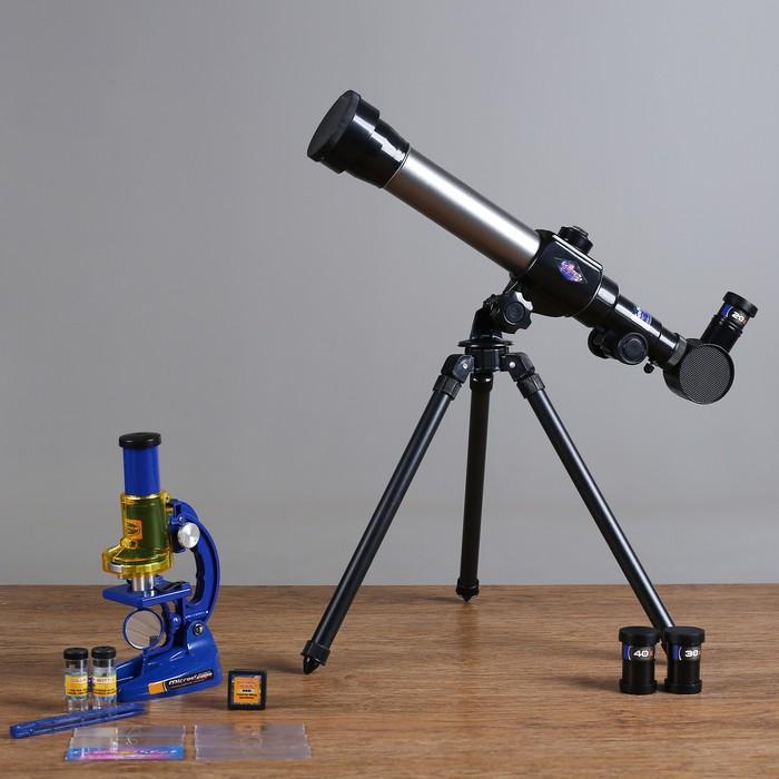 """Набор обучающий """"Юный натуралист Ultra"""": телескоп настольный сувенирный 20х-30х-40х съемные линзы, микроскоп сувенирный 100х-200х-450х, инструменты для исследований"""