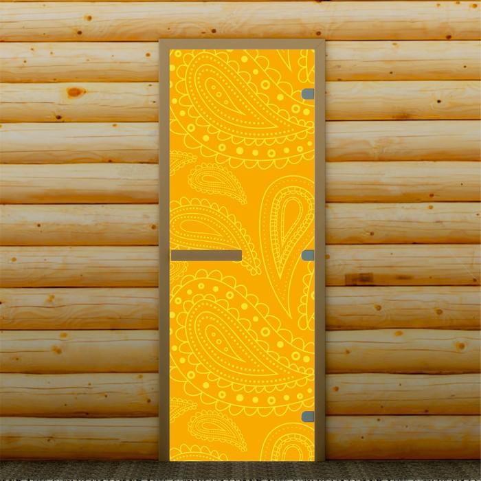 """Дверь для бани и сауны """"Перья"""", 190 х 70 см, с фотопечатью 8 мм Добропаровъ"""