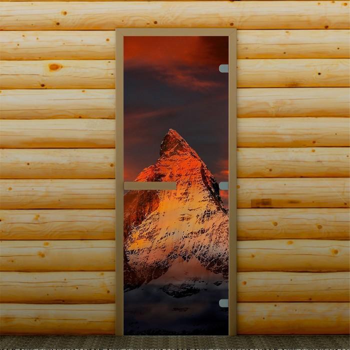 """Дверь для бани и сауны """"Горная вершина"""", 190 х 70 см, с фотопечатью 8 мм Добропаровъ"""