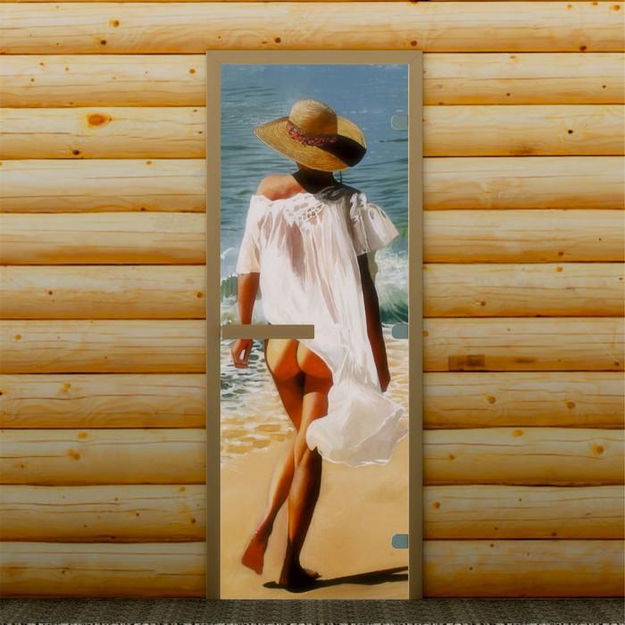 """Дверь для бани и сауны """"Морской отдых"""", 190 х 70 см, с фотопечатью 8 мм Добропаровъ"""