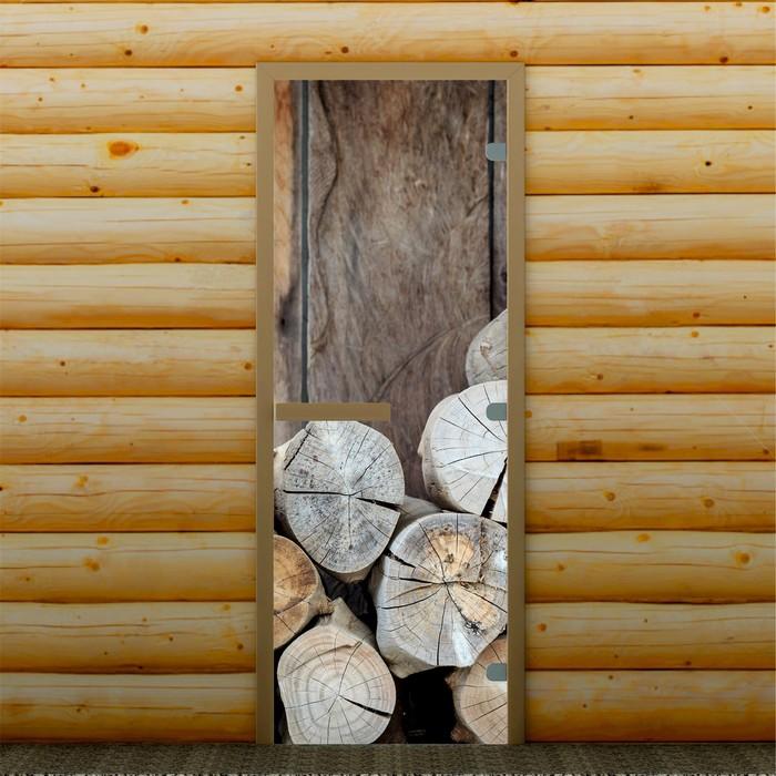 """Дверь для бани и сауны """"Дрова"""", 190 х 70 см, с фотопечатью 8 мм Добропаровъ"""