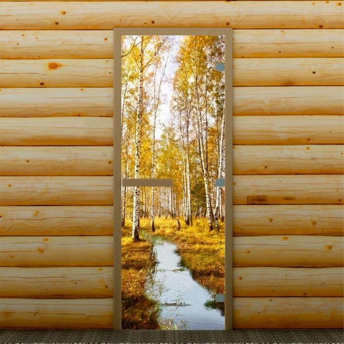 """Дверь для бани и сауны """"Осень в лесу"""", 190 х 70 см, с фотопечатью 8 мм Добропаровъ"""