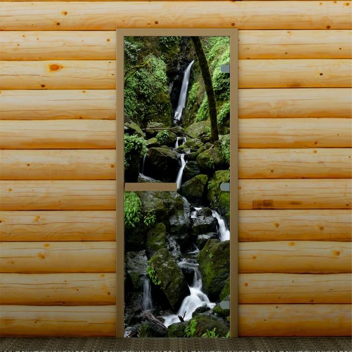 """Дверь для бани и сауны """"Горный водопад"""", 190 х 70 см, с фотопечатью 8 мм Добропаровъ"""