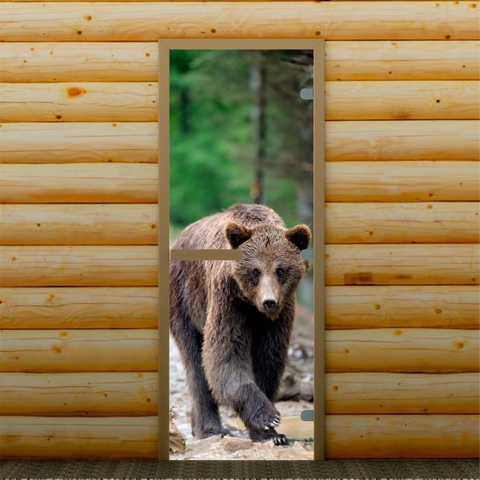 """Дверь для бани и сауны """"Бурый медведь"""", 190 х 70 см, с фотопечатью 8 мм Добропаровъ"""
