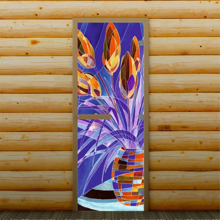 """Дверь для бани и сауны """"Цветы"""", 190 х 70 см, с фотопечатью 8 мм Добропаровъ"""