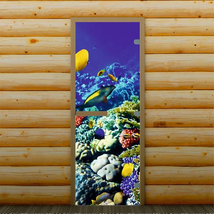 """Дверь для бани и сауны """"Подводный мир"""", 190 х 70 см, с фотопечатью 8 мм Добропаровъ"""