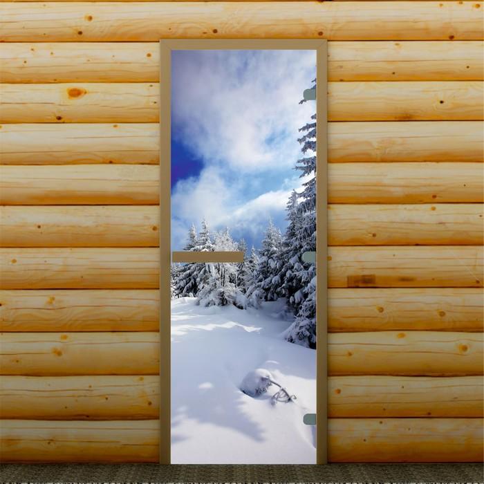 """Дверь для бани и сауны """"Зимний пейзаж"""", 190 х 70 см, с фотопечатью 8 мм Добропаровъ"""