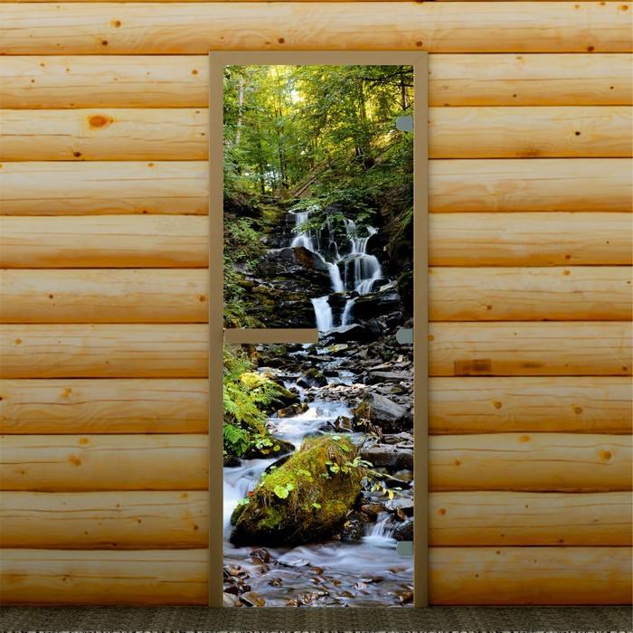"""Дверь для бани и сауны """"Горный ручей"""", 190 х 70 см, с фотопечатью 8 мм Добропаровъ"""