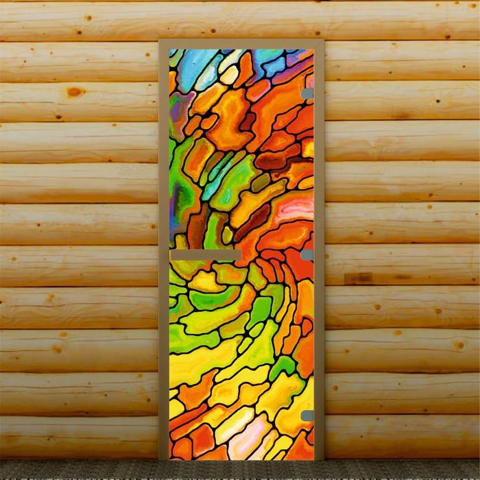 """Дверь для бани и сауны """"Мозаика"""", 190 х 70 см, с фотопечатью 8 мм Добропаровъ"""