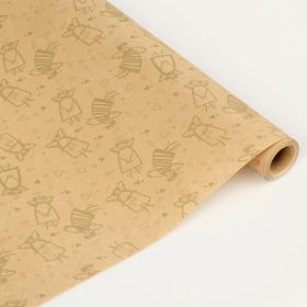 Бумага упаковочная крафт 'Золотые ангелы' 0.6 x 10 м Ош
