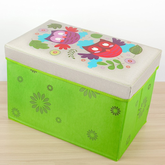 """Короб для хранения 49×31×31 см """"Совы"""", цвет зелёный"""