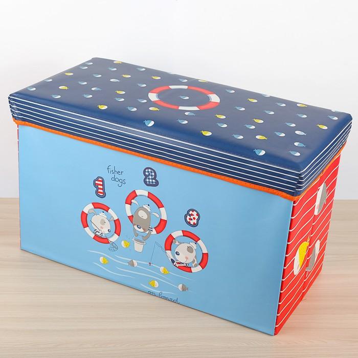 """Короб для хранения 60×30×35 см """"На рыбалке"""", цвет синий"""