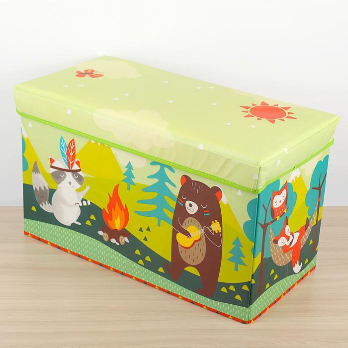 """Короб для хранения 60×30×35 см """"У костра"""", цвет зелёный"""