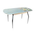 "Стол ""ГОЛД"" раздвижной 1150(1450)х700 мм, стекло, механизм ""бабочка"", хром, лимоны"