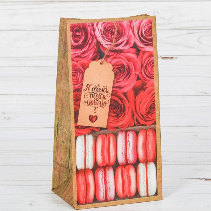 Пакет подарочный без ручек «Я тебя люблю!», 10 × 19.3 × 7 см - фото 308984409