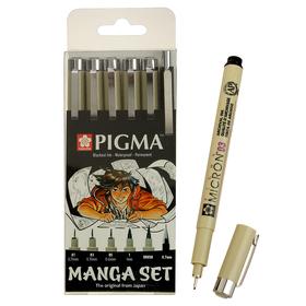 Ручка капиллярная, набор Sakura Pigma Micron Manga, разные типы, 6 штук (0.1, 0.3, 0.5, B, PG, м/к 0.7)