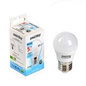 Лампа cветодиодная Smartbuy, G45, Е27, 5 Вт, 4000 К, холодный белый Ош