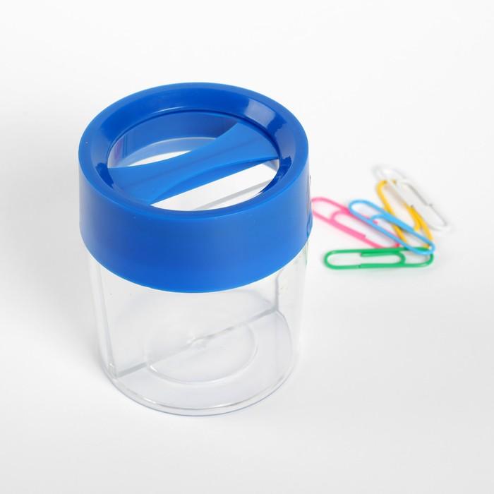 Скрепочница круглая с магнитом прозрачная пластик МИКС