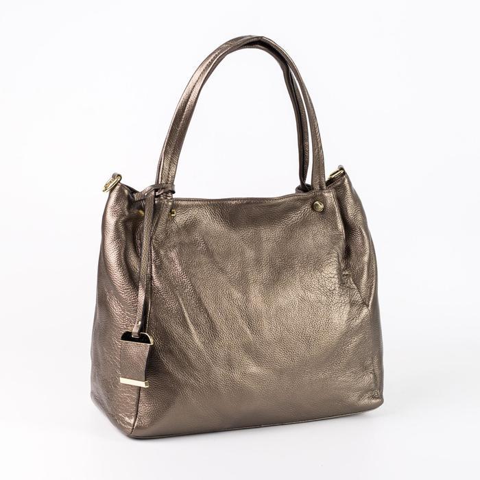 Сумка женская, отдел с перегородкой, наружный карман, длинный ремень, цвет бронзовый - фото 50392