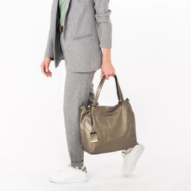 Сумка женская, отдел с перегородкой, наружный карман, длинный ремень, цвет бронзовый - фото 50395