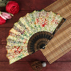 """Fan plastic """"Butterfly in blooming garden"""" gold sequins MIX 23 cm"""