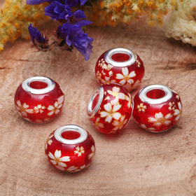 Бусинка 'Ромашка', цвет красно-белый в серебре Ош