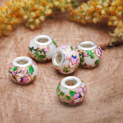 """Бусинка """"Цветы весенние"""", цвет бело-розовый в серебре"""
