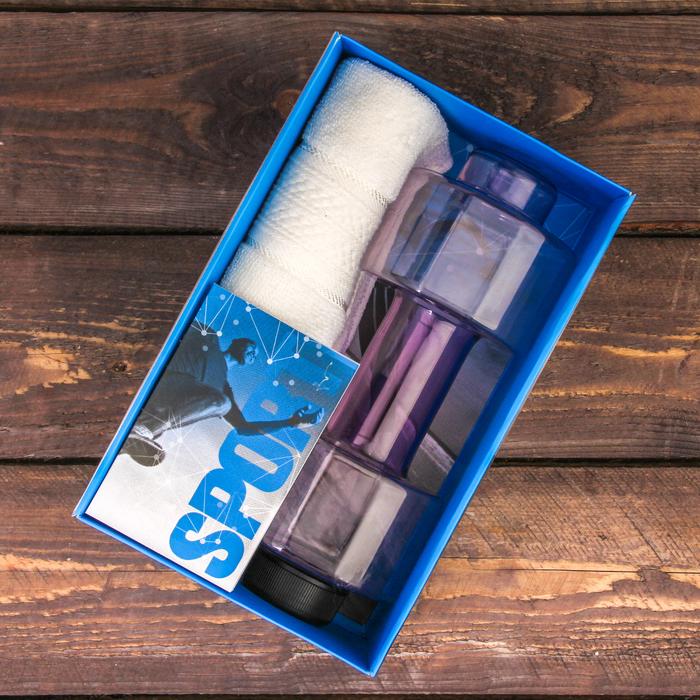 Набор «Sport»: бутылка для воды 500 мл, полотенце 30 см × 30 см, блокнот