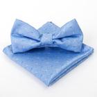 Набор для мальчика галстук бабочка 10 х 5, платок 18 х 18, п/э, голубой