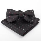 Набор детский: галстук-бабочка 10х5, платок 18х18, чёрный, п/э