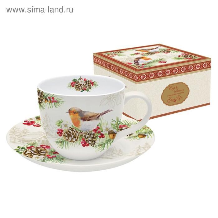 """Чашка с блюдцем """"Снегири"""", в подарочной упаковке"""