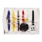 Швейный набор: игла, нити 6-ти цветов, 2 пуговицы (черная и белая), булавка