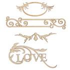 "Декоративный элемент ""LOVE"" набор 4шт, от 7,5х2 см до  8,5х4,5см (ДЕК-607)"