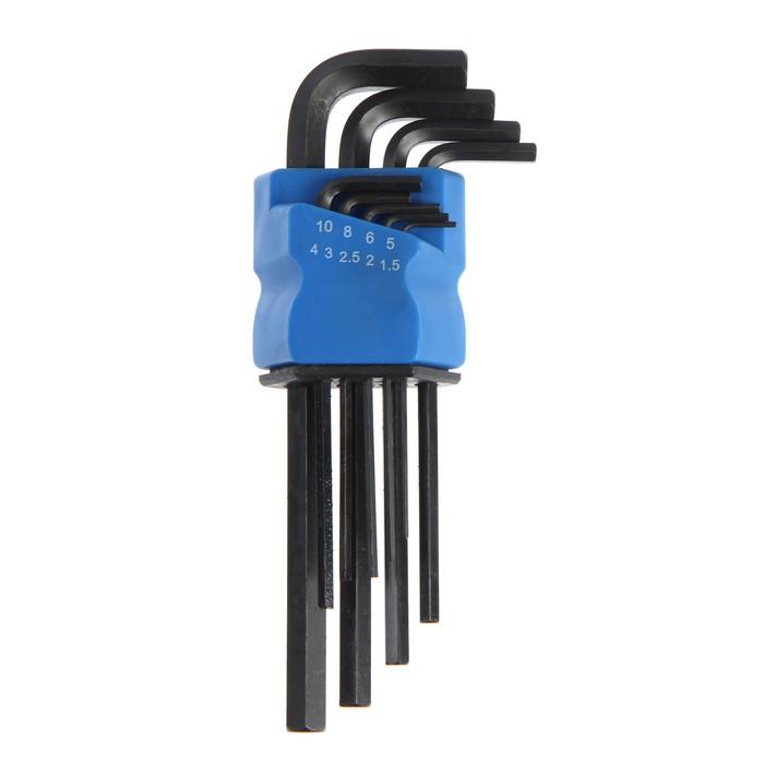 Набор ключей шестигранных TUNDRA black, удлиненных, CrV, 1.5 - 10 мм, 9 шт.
