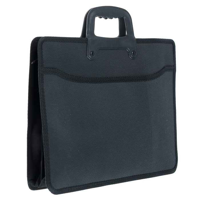 Портфель 1 отделение, формат А4, пластиковый, с ручкой, на молнии, чёрный