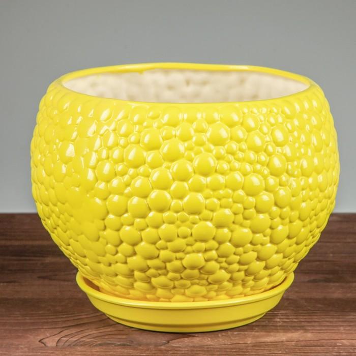 """Горшок для цветов """"Пузыри"""" лимонный цвет, 9 л - фото 725625125"""