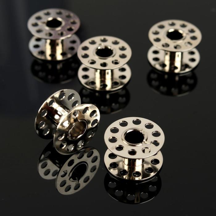 Набор шпулек, d = 20,5 см, 5 шт, цвет серебряный - фото 395099