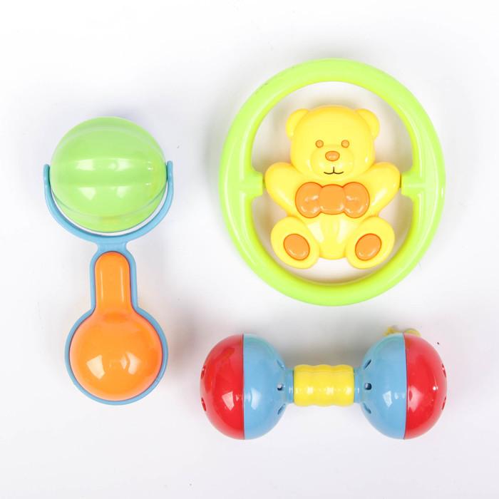 Набор погремушек «Давай играть 4», 3 шт., цвет МИКС - фото 687072435