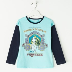 Лонгслив для девочки, рост 104 см, цвет тёмно-синий/ментол