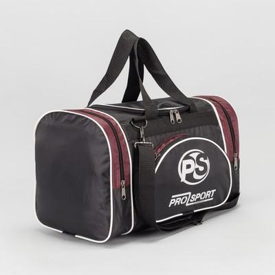 Сумка спортивная, 1 отдел на молнии, 2 наружных кармана, цвет чёрный/бордовый